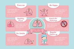 6 punti per il polmone di salute Fotografia Stock