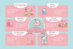6 punti per lo stomaco di salute Fotografia Stock Libera da Diritti