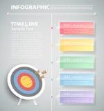 Punti per mirare al modello infographic può essere usato per il flusso di lavoro, la disposizione, diagramma Fotografia Stock