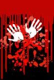 Punti rossi e stampa bianca delle mani Fotografia Stock Libera da Diritti