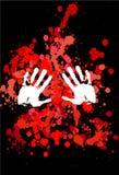 Punti rossi e stampa bianca delle mani Fotografie Stock