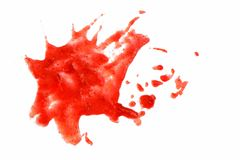 Punti rossi su fondo isolato bianco Le goccioline del sangue o schizza, pittura, il succo, tiraggio del ketchup fotografia stock