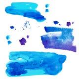Punti strutturati decorativi dipinti a mano dell'acquerello nel colore blu immagine stock libera da diritti