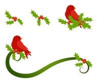 Puntilla del acebo del pájaro que se sienta rojo ilustración del vector