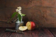 Puntilla del jazmín y manzana cortada Imágenes de archivo libres de regalías