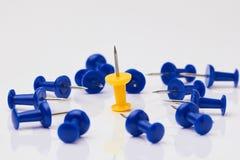 Puntine da disegno blu e gialle su un fondo bianco Immagini Stock