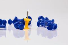Puntine da disegno blu e gialle su un fondo bianco Fotografie Stock Libere da Diritti