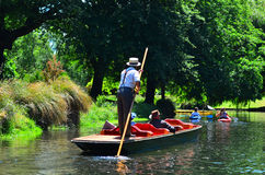 Punting on the Avon river Christchurch - New Zealand Stock Images