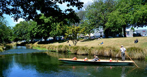 Punting on the Avon river Christchurch - New Zealand Royalty Free Stock Photos