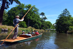 Punting on the Avon river Christchurch - New Zealand Royalty Free Stock Photography