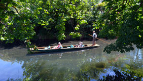 Punting on the Avon river Christchurch - New Zealand Royalty Free Stock Images