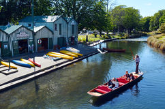 Punting on the Avon river Christchurch - New Zealand Royalty Free Stock Photo