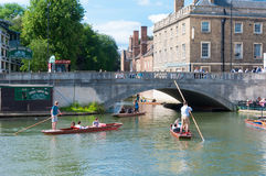 Punting on cam, Cambridge, England, UK Royalty Free Stock Photo