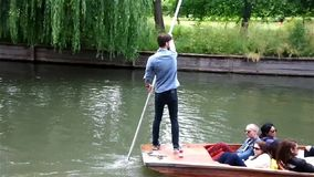 Punting in Cambridge stock video