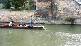 Punting in Cambridge stock footage