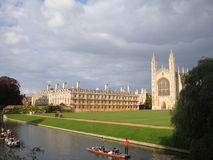 Punting on canal at Cambridge University England Royalty Free Stock Photos