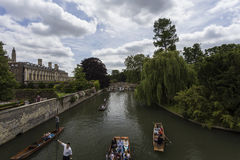 Punting on the canals of Cambridge Royalty Free Stock Images