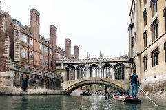 PUNTING I CAMBRIDGE Arkivbild