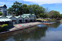 Punting and Kayaks boat shed on the Avon river Christchurch  - N Royalty Free Stock Image