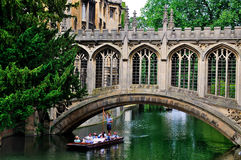 Punting nos canais de Cambridge Imagem de Stock Royalty Free