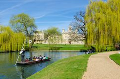 Punting on river Cam, Cambridge, UK stock image