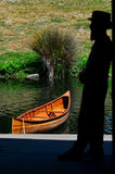 Punting sailor on the Avon river Christchurch - New Zealand Stock Images