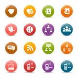 Puntini colorati - icone sociali di media Fotografie Stock Libere da Diritti