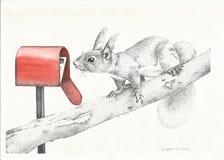 Puntinismo dei grafici dello scoiattolo Immagini Stock