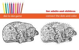 Puntino per punteggiare gioco Coloritura e punto per punteggiare gioco educativo per gli adulti ed i bambini illustrazione vettoriale