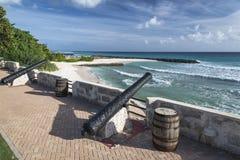 Punto Barbados le Antille di Needhams dei canoni Immagini Stock Libere da Diritti