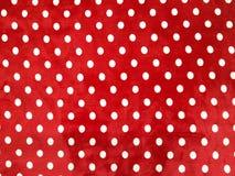 Punto bianco rosso del tessuto del modello del fondo fotografia stock libera da diritti