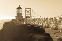 Punto Bonita, California - 6 de enero de 2018: Punto Bonita Lighthouse en estilo antiguo Imágenes de archivo libres de regalías