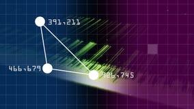 Punto collegato che forma triangolo con il numero sull'angolo mentre quadrato virtuale che cade sul fondo illustrazione di stock