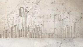 Punto collegato disegnato con il fondo attinto paesaggio della città illustrazione vettoriale