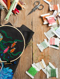 Punto croce messo: tavolozza di colore, fili, tela Fotografie Stock