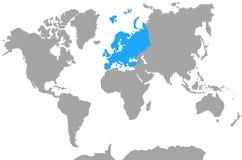 Punto culminante de Europa del mapa del mundo de los continentes Imagen de archivo