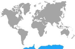 Punto culminante la Antártida del mapa del mundo de los continentes Fotos de archivo libres de regalías