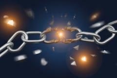 Punto débil de una cadena quebrada que estalla - 3d rinden foto de archivo libre de regalías
