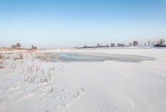 Punto débil en el hielo nevado fotografía de archivo libre de regalías