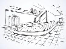 Punto de comprobar el equipaje en aeropuerto Gráfico del vector Fotos de archivo libres de regalías