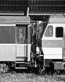 Punto de conexión del cargo del tren Foto de archivo