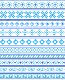 Punto de cruz Artes y aficiones Fronteras y fram inconsútiles azules stock de ilustración