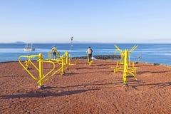 Punto de la aptitud en el Blanca de Playa en Foto de archivo
