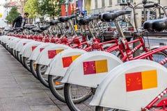 Punto de la bicicleta del alquiler en Amberes Imagen de archivo libre de regalías