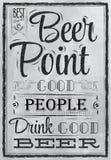Punto de la cerveza de las letras del cartel. Carbón. Fotos de archivo