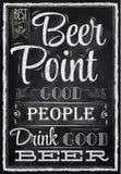 Punto de la cerveza de las letras del cartel. Tiza. Foto de archivo libre de regalías
