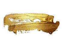 Punto de la pintura del movimiento del cepillo del oro del dibujo de la mano aislado fotografía de archivo libre de regalías