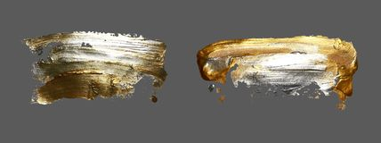 Punto de la pintura del movimiento del cepillo del oro del dibujo de la mano en un fondo gris stock de ilustración
