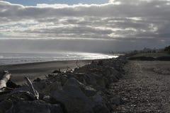 Punto de la puesta del sol de Hokitika, costa occidental de la isla del sur, Nueva Zelanda Imagenes de archivo