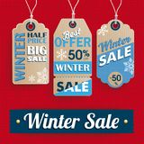 Punto de la venta del invierno de la bandera de 3 etiquetas engomadas del precio que hace compras Imágenes de archivo libres de regalías